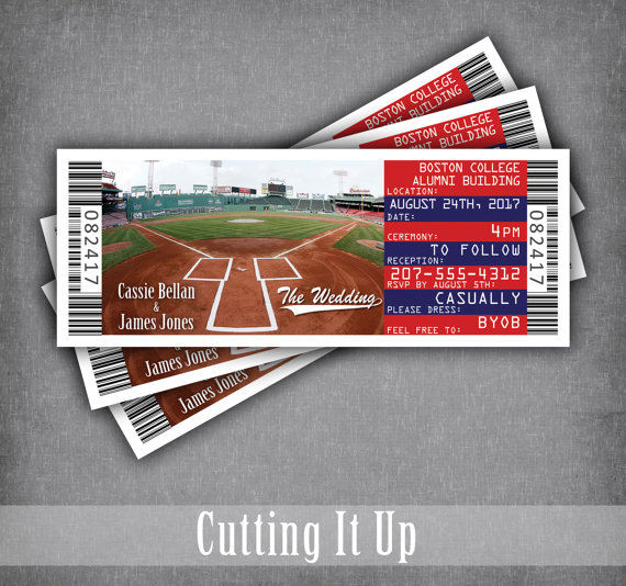 Baseball Vow Renewal Invitation Red Sox Cubs Wedding Ticket Etsy Baseball Wedding Invitation Vow Renewal Invitations Ticket Wedding Invitations