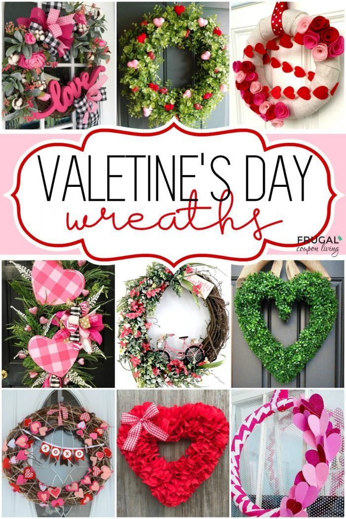 DIY Valentine Wreath Crafts - Adorable Valentine's Day Decor Ideas for Your Door. #FrugalCouponLiving #valentinesday #valentinesdaycrafts #valentinesdaywreath #valentinewreath #valentinecrafts #diyvalentinesday #valentinesdaydiy #wreathmaking #wreathsforfrontdoor #wreathtutorial