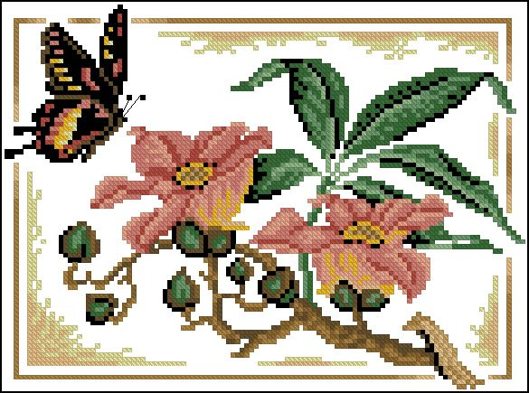 "Free Cross stitching pattern ""Flight of Butterflies"" 
