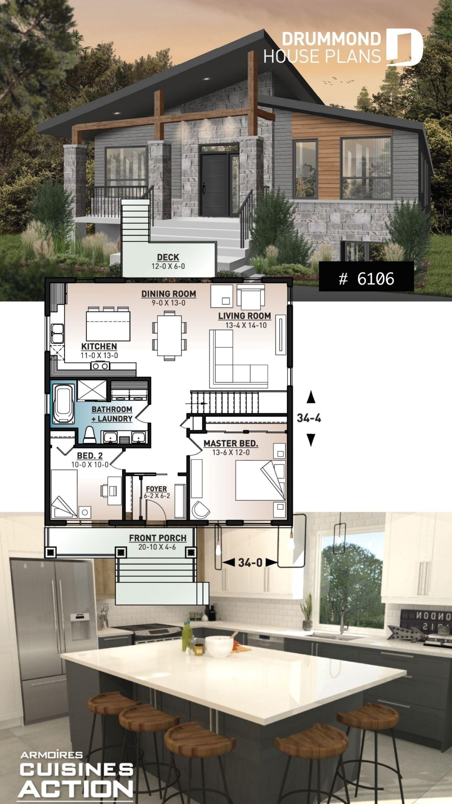 Modern One Storey House Plan Bedrooms All Efficient Floor Plan Ving Space At The Back Of House Kucuk Ev Tasarimi Ev Zemin Planlari Ev Plani