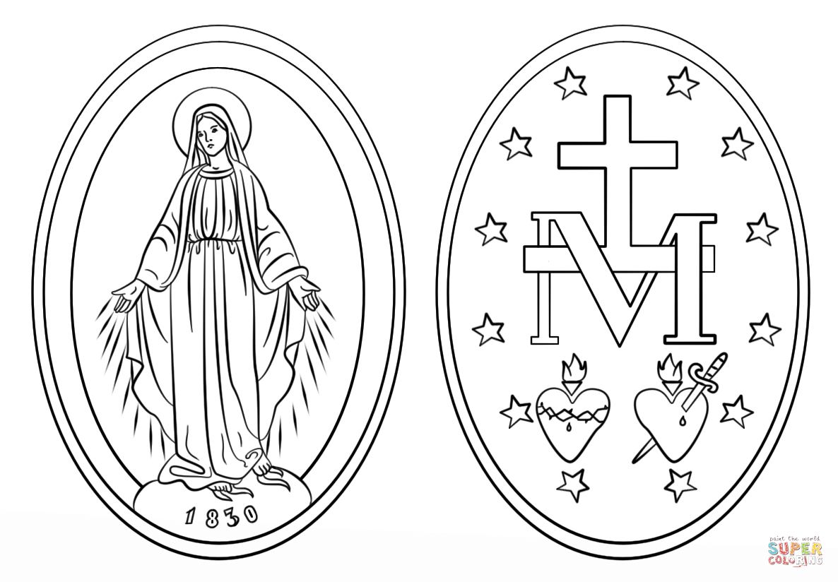 Miraculous Medal Coloring Page Free Printable Coloring Pages Miraculous Medal Tattoo Coloring Pages Miraculous Medal