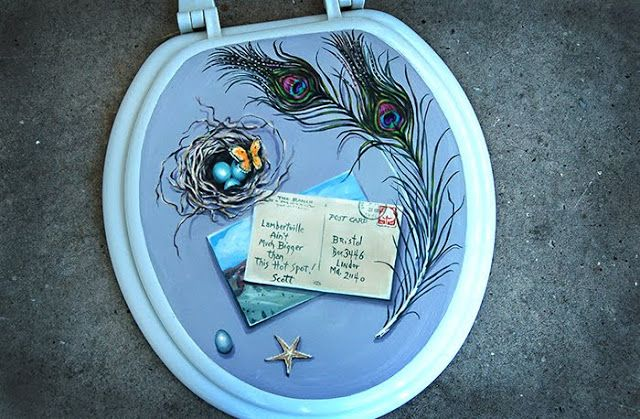 Fine The Painting Queen Hand Painted Toilet Seat Lid Really Andrewgaddart Wooden Chair Designs For Living Room Andrewgaddartcom