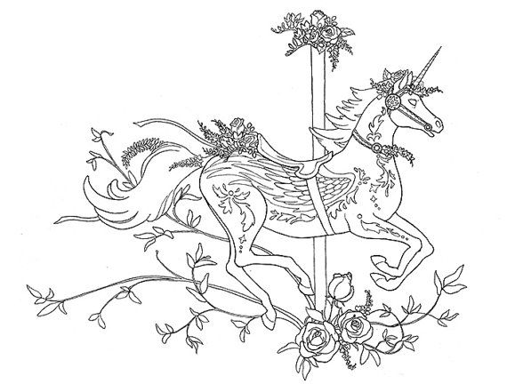 Carousel Horse Printable Coloring Page Book Unicorn Horse Fantasy Art Horse Coloring Pages Coloring Pages Unicorn Coloring Pages
