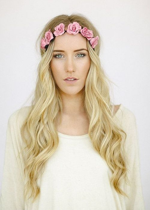 Floral prom hair