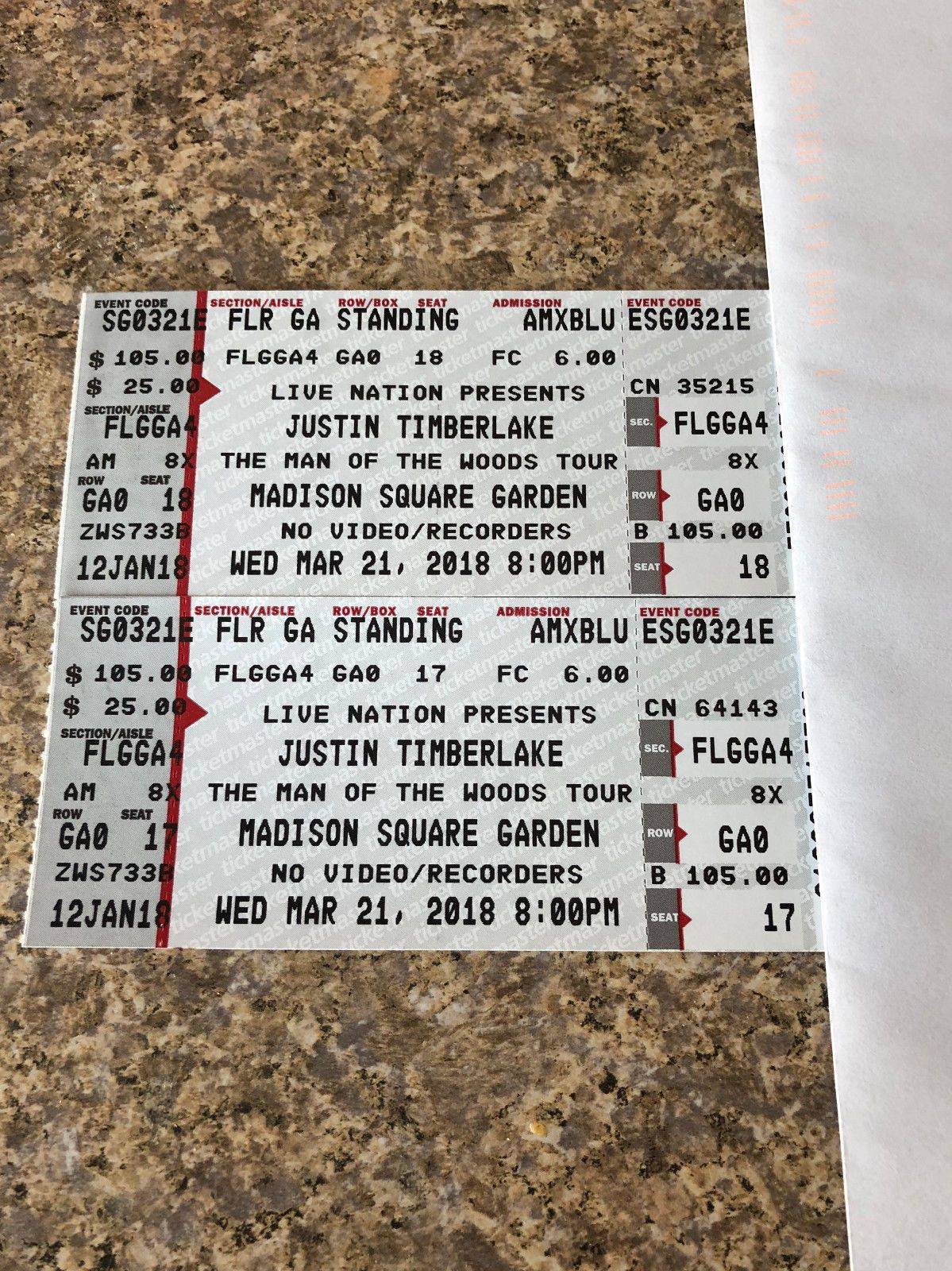 Tickets 2 Ga Floor Seats Justin Timberlake Madison Square Garden 03 21