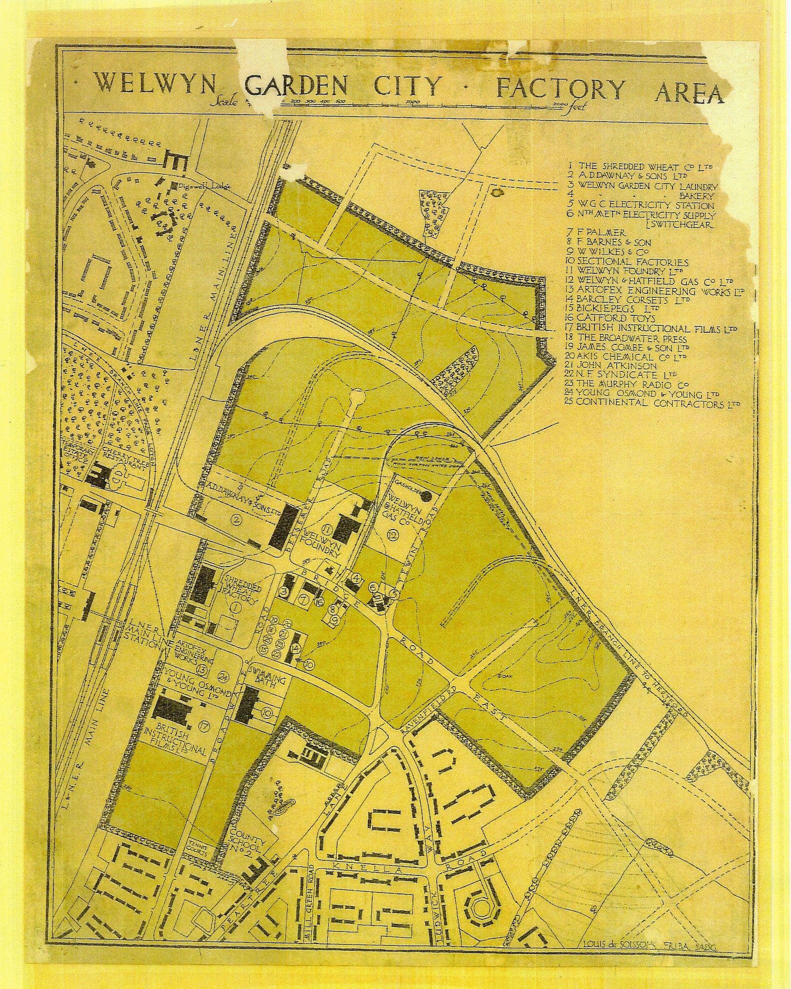 Lovely 1920s Handdrawn Map Of Welwyn Garden City S Green