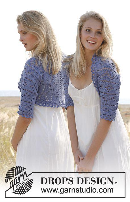 Crochet DROPS bolero with lace pattern in Baby Alpaca Silk. Size: S ...