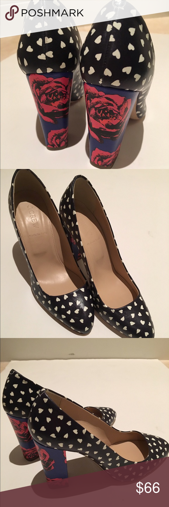 JCrew Roxie print leather pumps size 7 Get your feet in A LOVING spirit.  Sexy yet polished, this high-heeled, rounded-toe Roxie pump is the shoe that has launched a thousand amazing outfits—and counting.    Leather lining and sole. Made in Italy. Black with white hearts adorn the front, while red and purple roses are the surprise heel that gives a romantic feel.  Stylish and fun. Practically new.  Impeccable condition. J.Crew Size 7  Make a simple outfit pop in these pumps J Crew Shoes…