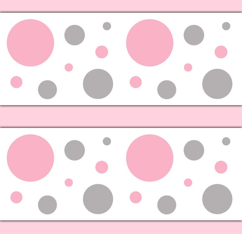 Pink grey gray polka dot wallpaper border wall decals baby for Pink and grey wallpaper