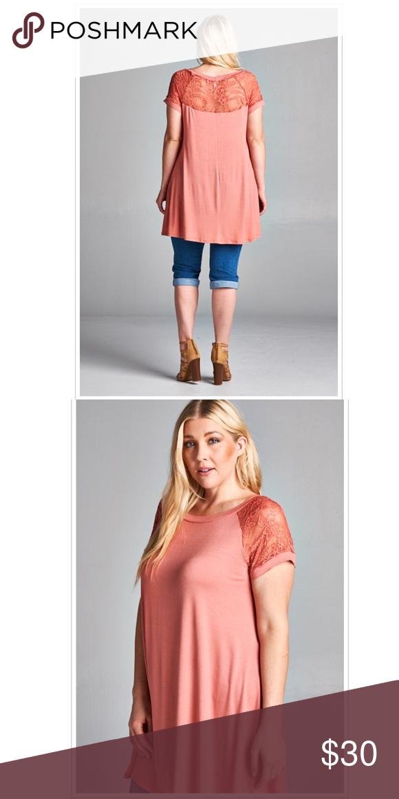 21c02a60ca5f8e 3X Mauve Beautiful Lace Trim Blouse Top Tee Shirt Boutique