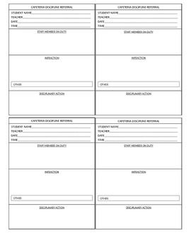 Cafeteria Detention Slips With Blanks For Staff Member Assigning The Student Infraction And Disciplinary Action Provide Easy Reference