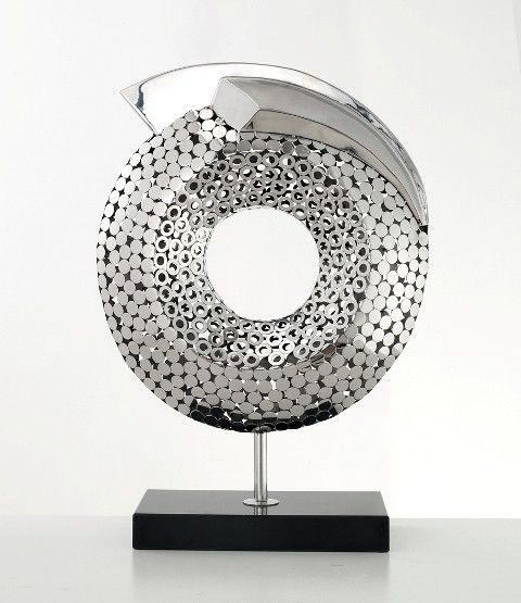 Catalyst   Abstract Sculpture | Polished Steel On Marble Decorative Object  For Modern Home Decoration By