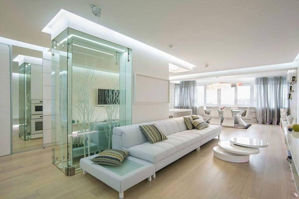 Modern white living interior design ᴷᴬ