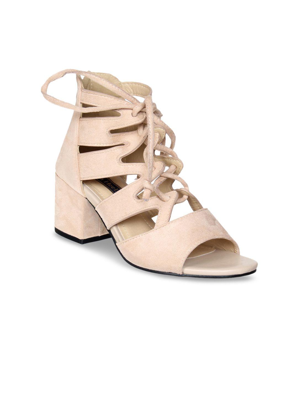 4aa0fde3 Buy Flat N Heels Women Black Solid Mid Top Suede Sandals - Heels for Women  4320763 | Myntra