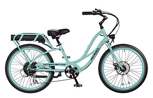 Pedego 24 Inch Wheel Interceptor Step Thru Cruiser Seafoam Green
