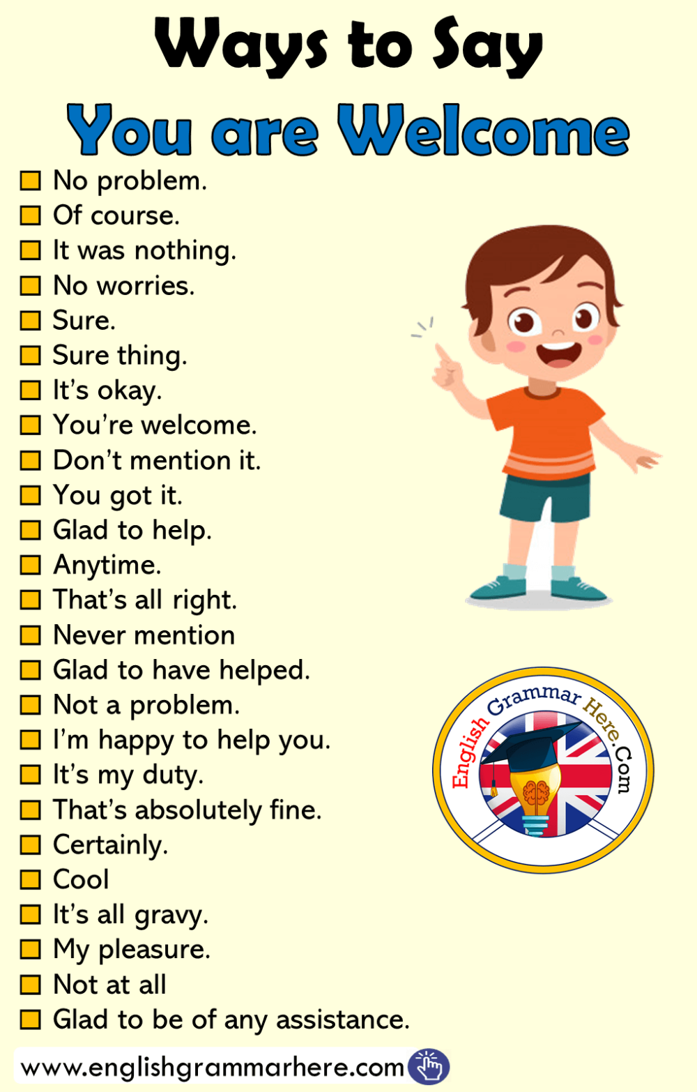 Different Ways To Say You Are Welcome In English No Problem Of Course It Was Nothing No Worries Sure Sur English Phrases Learn English Words English Words