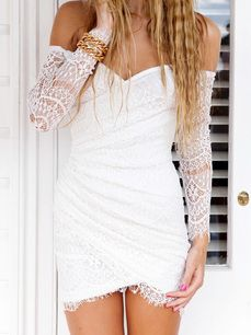 Sexy Off The Shoulder Long Sleeve Lace Solid Color Women's Bodycon Dress