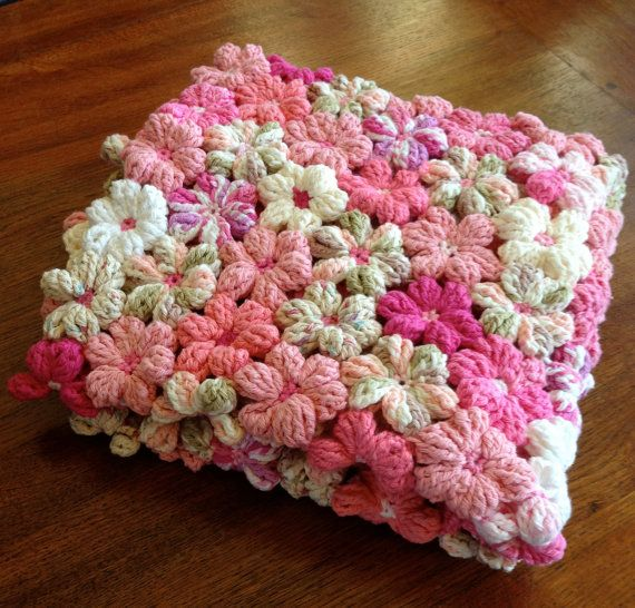 Floral Baby Blanket in Shades of Pink by OnePaisleyPig on Etsy, $225.00