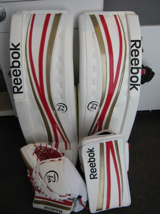 c38da83a374 Reebok Premier 4 custom goalie pads made for a customer.