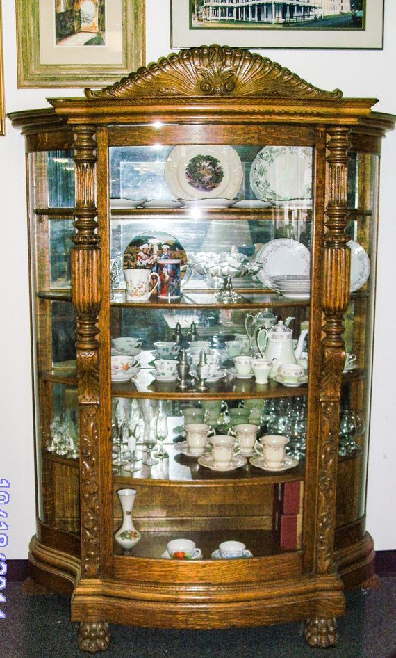 Vintage Furniture Glass Living Room Showcase Design Wood: Antique China Curio Cabinet Victorian Era By