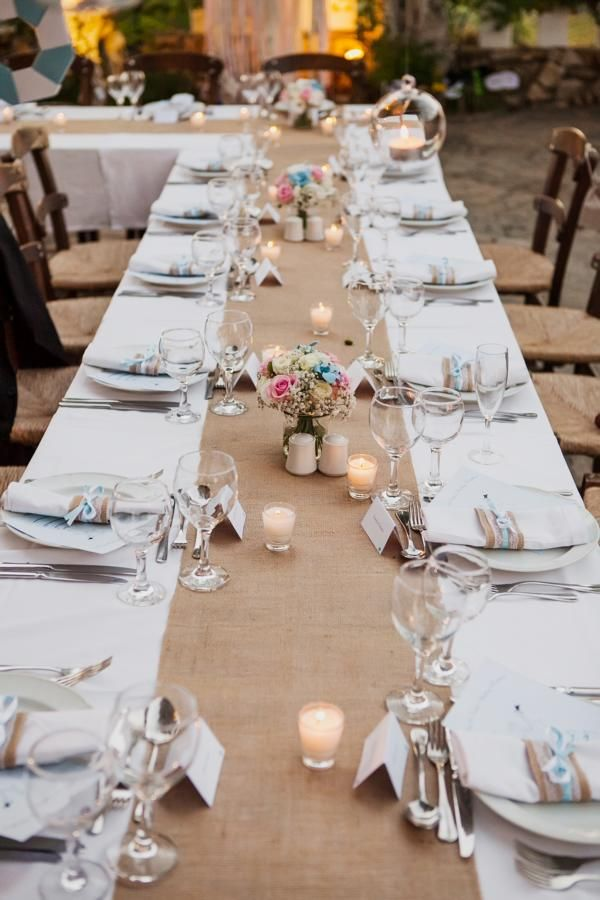 Gorgeous rectangular wedding reception table set up with hessian runner pretty posy centrepieces & Gorgeous rectangular wedding reception table set up with hessian ...