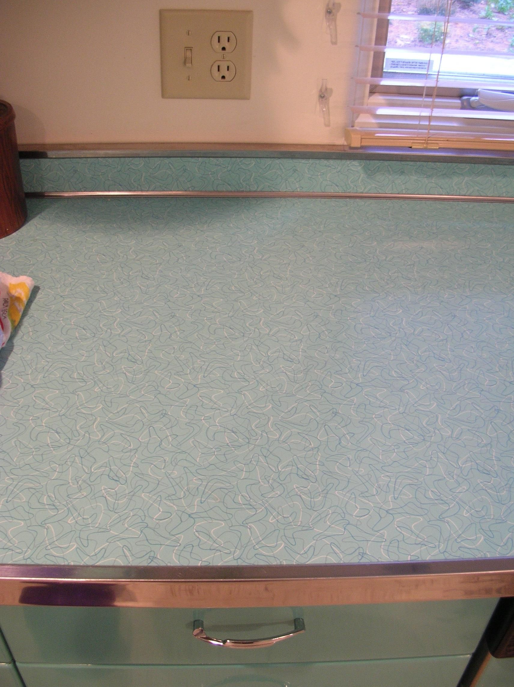 sheets pin edging steel countertop stainless aqua formica laminate metal boomerang your for countertops vintage