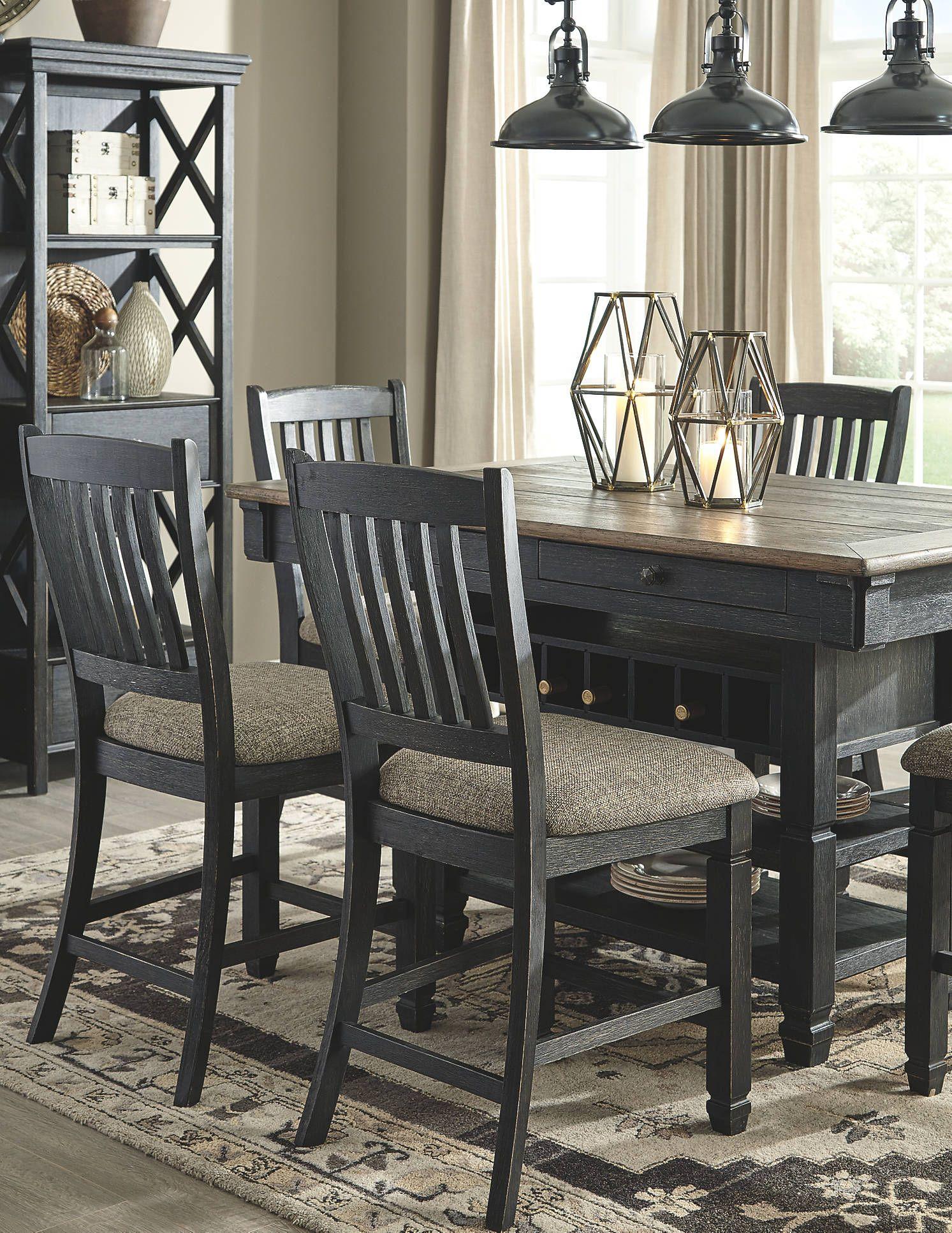 Tyler Creek Black Gray Rectangular Counter Height Dining Table