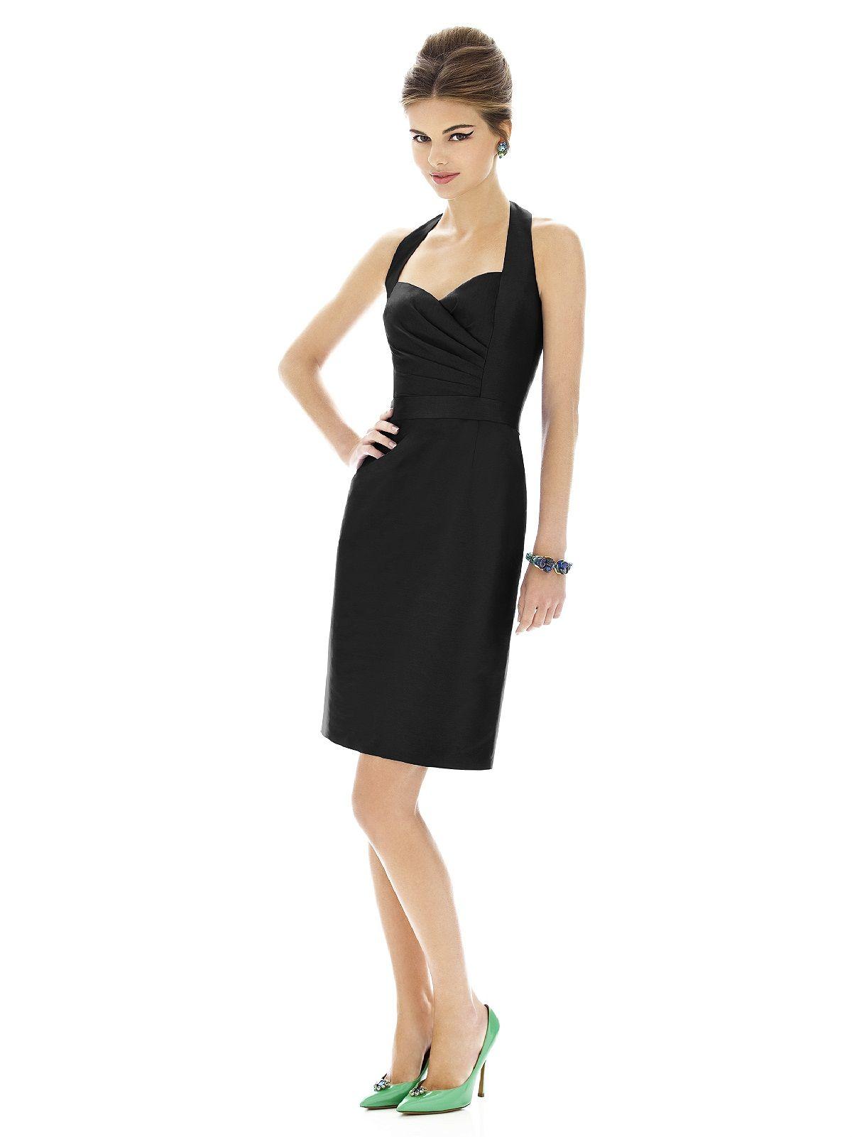 Alfred Sung Satin High Low Fit Amp Flare Dress In Silver Quarry Lyst - The alfred sung bridesmaid collection offers fresh contemporary bridesmaid dresses while keeping your budget in mind for alfred sung wedding dresses