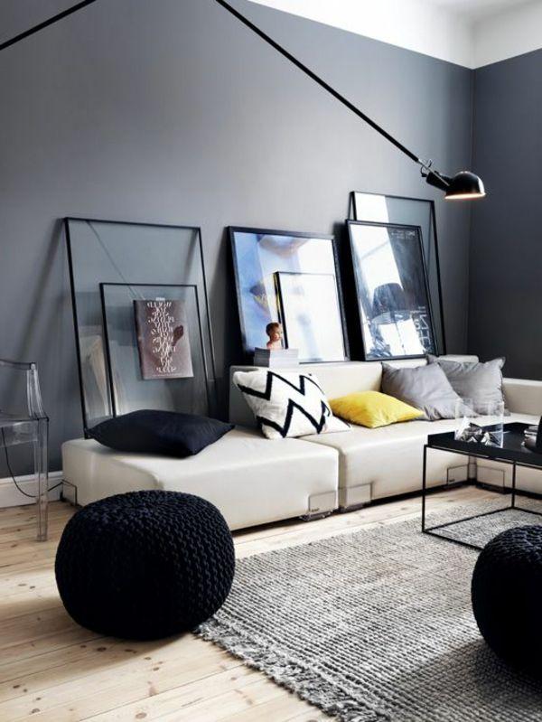 gestaltungsmöglichkeiten-für-wohnzimmer-dunkle-wände - moderner - moderne bilder fürs wohnzimmer