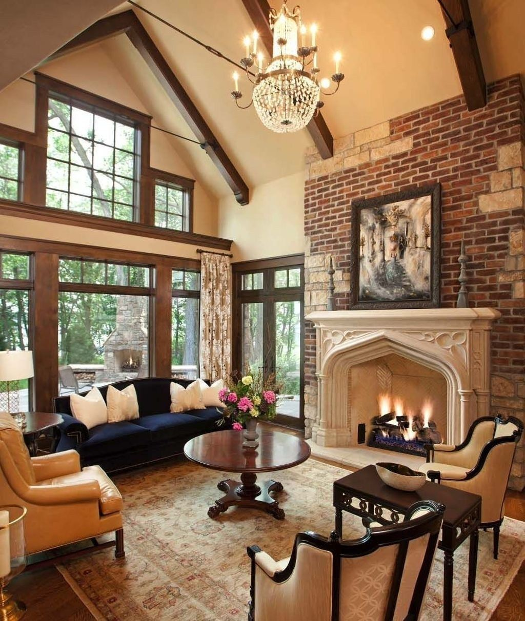 Rustic Traditional Living Room Ideas For This Winter 34 Vaulted Living Rooms Cottage Living Rooms Winter Living Room #traditional #living #room #decorating #ideas