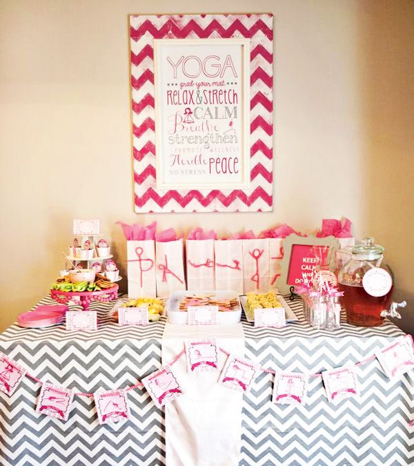 Peaceful Pink Mother Daughter Yoga Party Hostess With The Yoga Party Art Birthday Party Party Hostess
