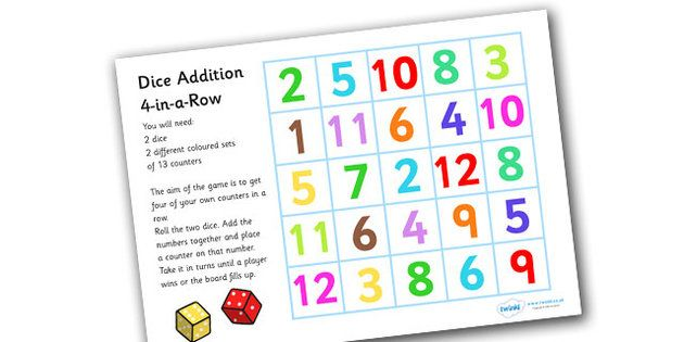Four In A Row Dice Addition Game Addition Games Teaching Resources Primary Maths Games Ks1