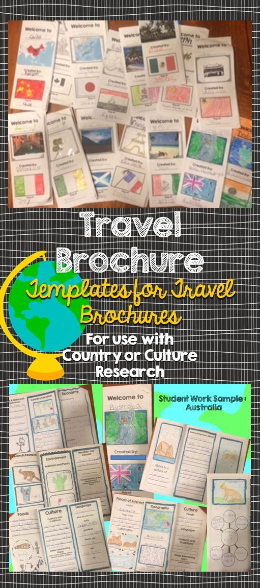 Travel Brochure   MFW  ECC Ideas   Pinterest   Travel brochure     Students will love creating their own travel brochure  Students can  research  create  and present information about any country  Great for  culture studies