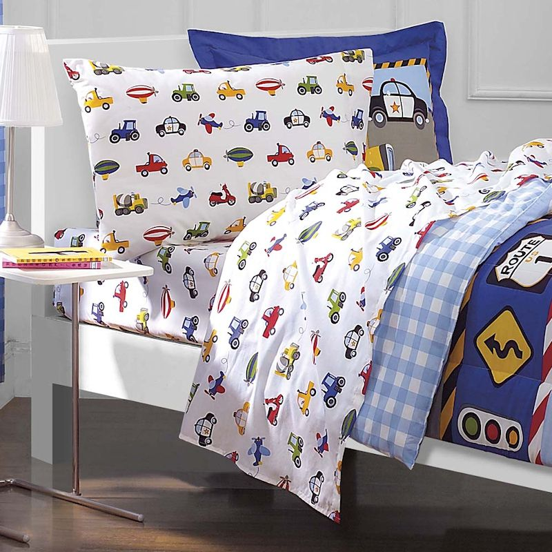 Cars Trucks Airplane Police Car Bedding For Boys 5pc Twin