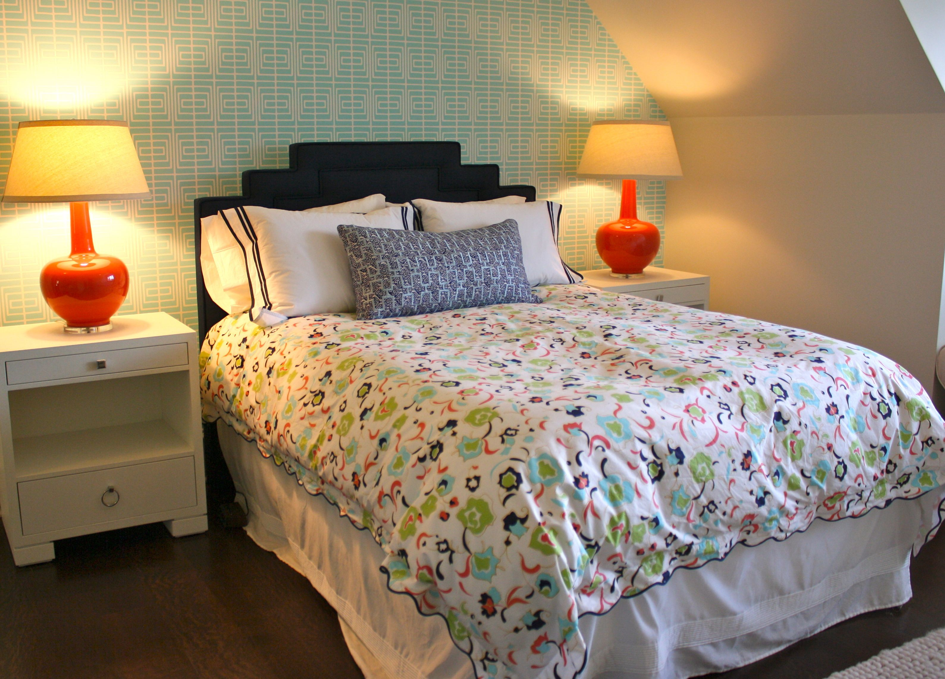 Design serendipity interiors guest bedroom turquoise for Coral and turquoise bedroom ideas