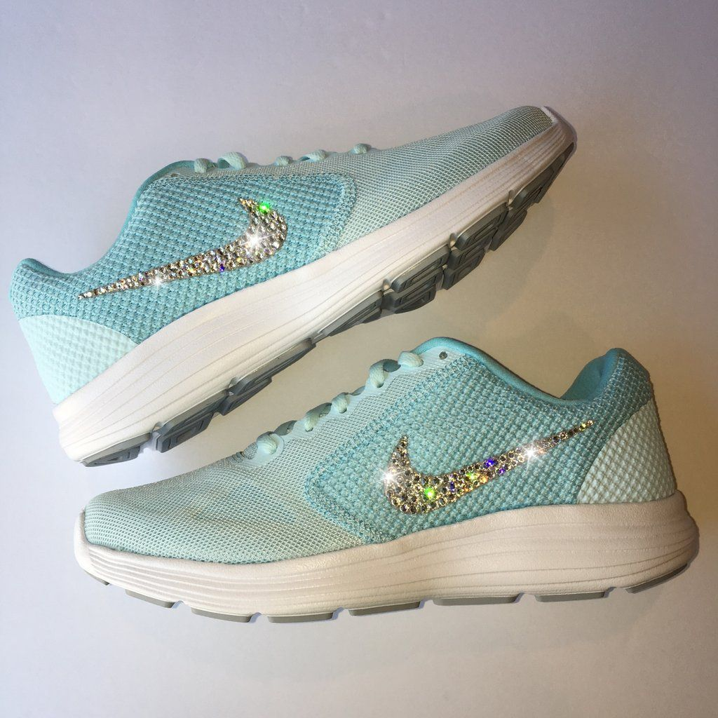 Bling Nike Revolution 3 Shoes with Swarovski Crystals   Tiffany Blue    Bedazzled with Authentic Swarovski Crystal Rhinestones a81780e03