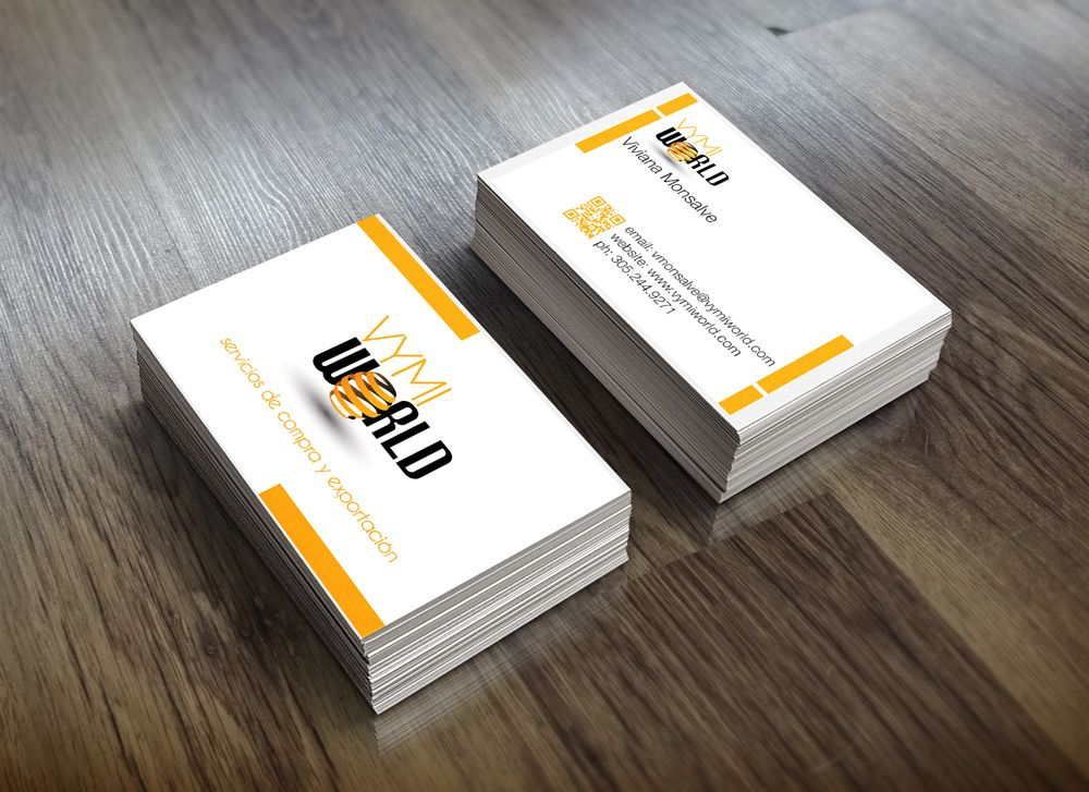 Vymi World logo and business card design. Miami import export ...