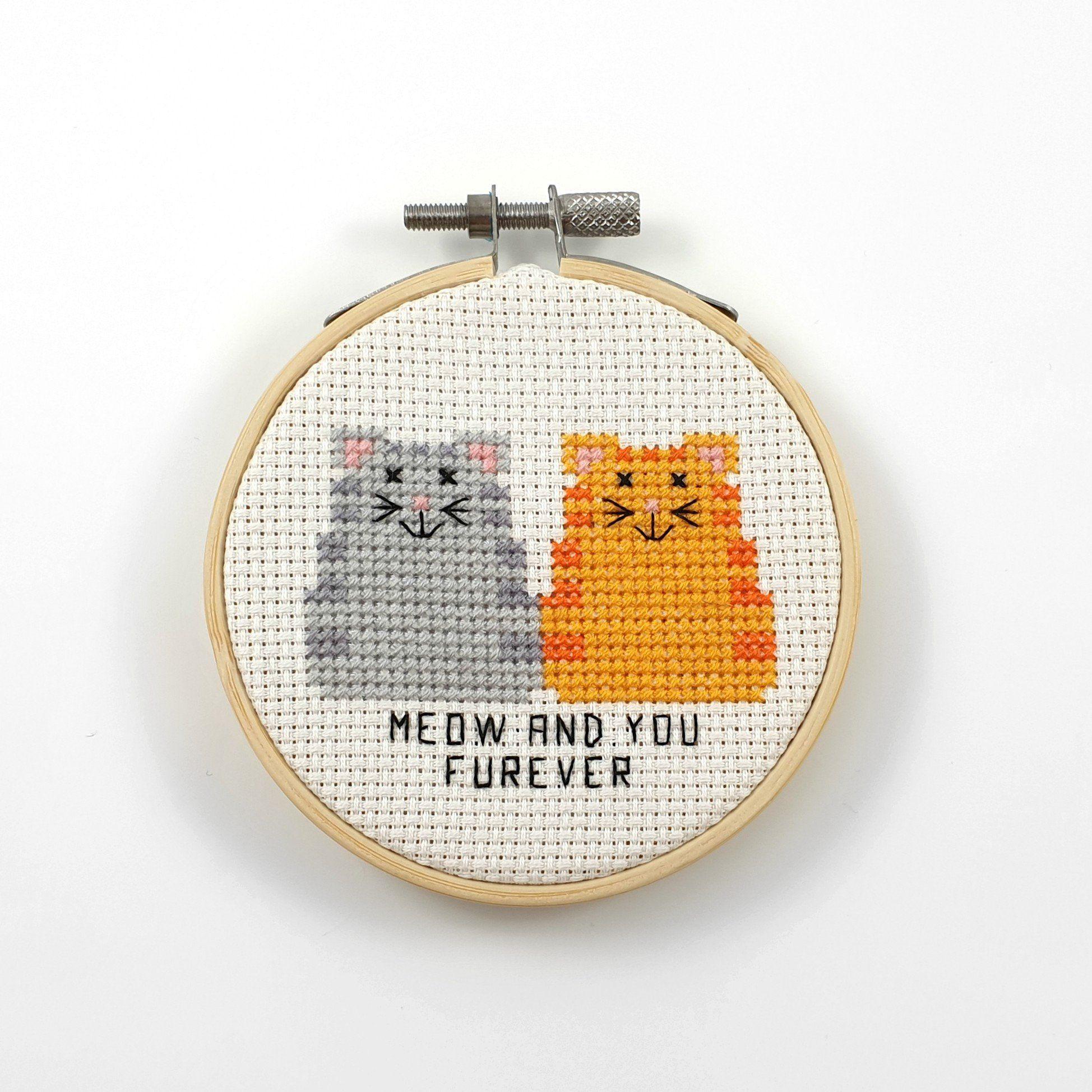 Meow and you furever cross stitch pattern, cat cross stitch