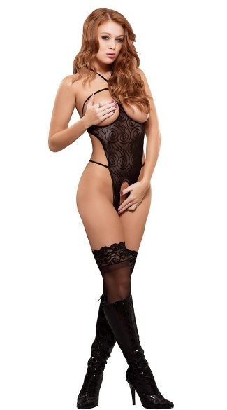 2f2761a476a38 Cupless and Crotchless Mesh Teddy, Sheer Open Crotch Teddy, Open Cup Teddy