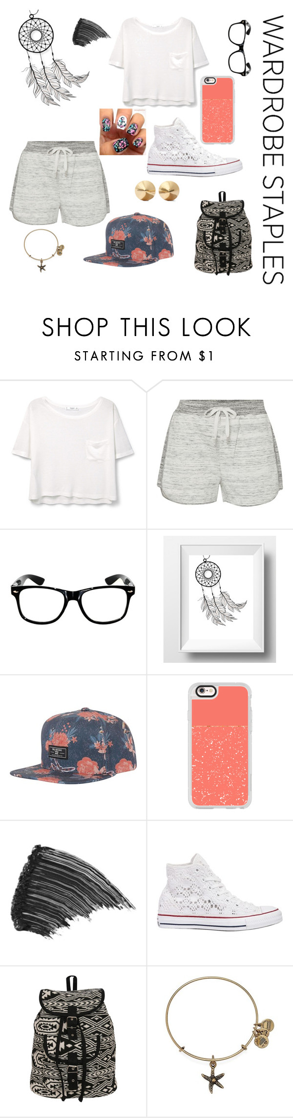 """""""Ready for anything"""" by elleebird ❤ liked on Polyvore featuring MANGO, Calvin Klein, Billabong, Casetify, LashFood, Converse, Pilot, Alex and Ani, Eddie Borgo and WardrobeStaples"""