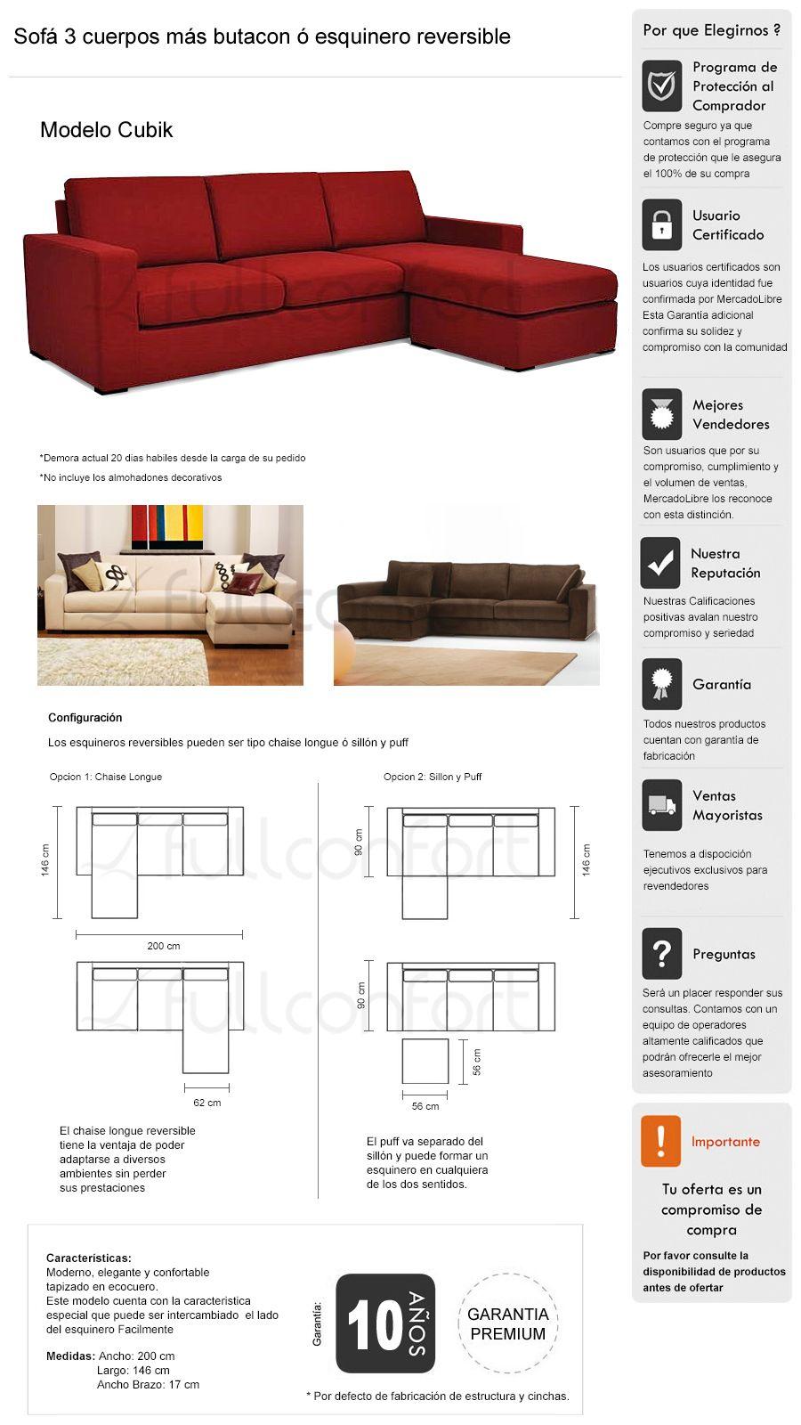 Sillon Living Sof 3 Cuerpos Esquinero Rinconero Reversible  # Muebles Living Mercadolibre