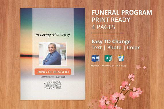 Funeral Program Template Memorial Program Obituary Template