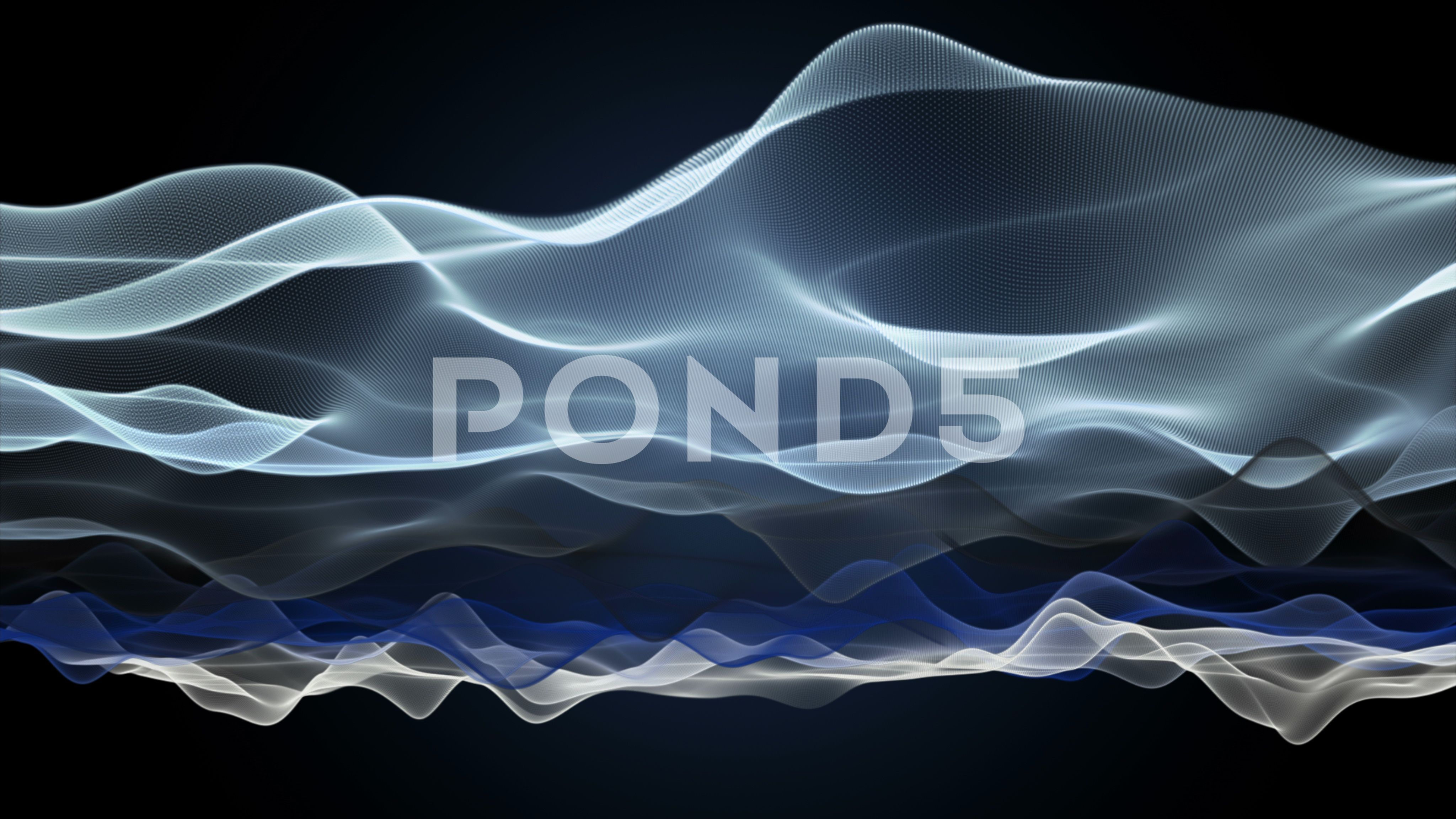 Wonderful animation with wave object in slow motion, 4096x2304 loop