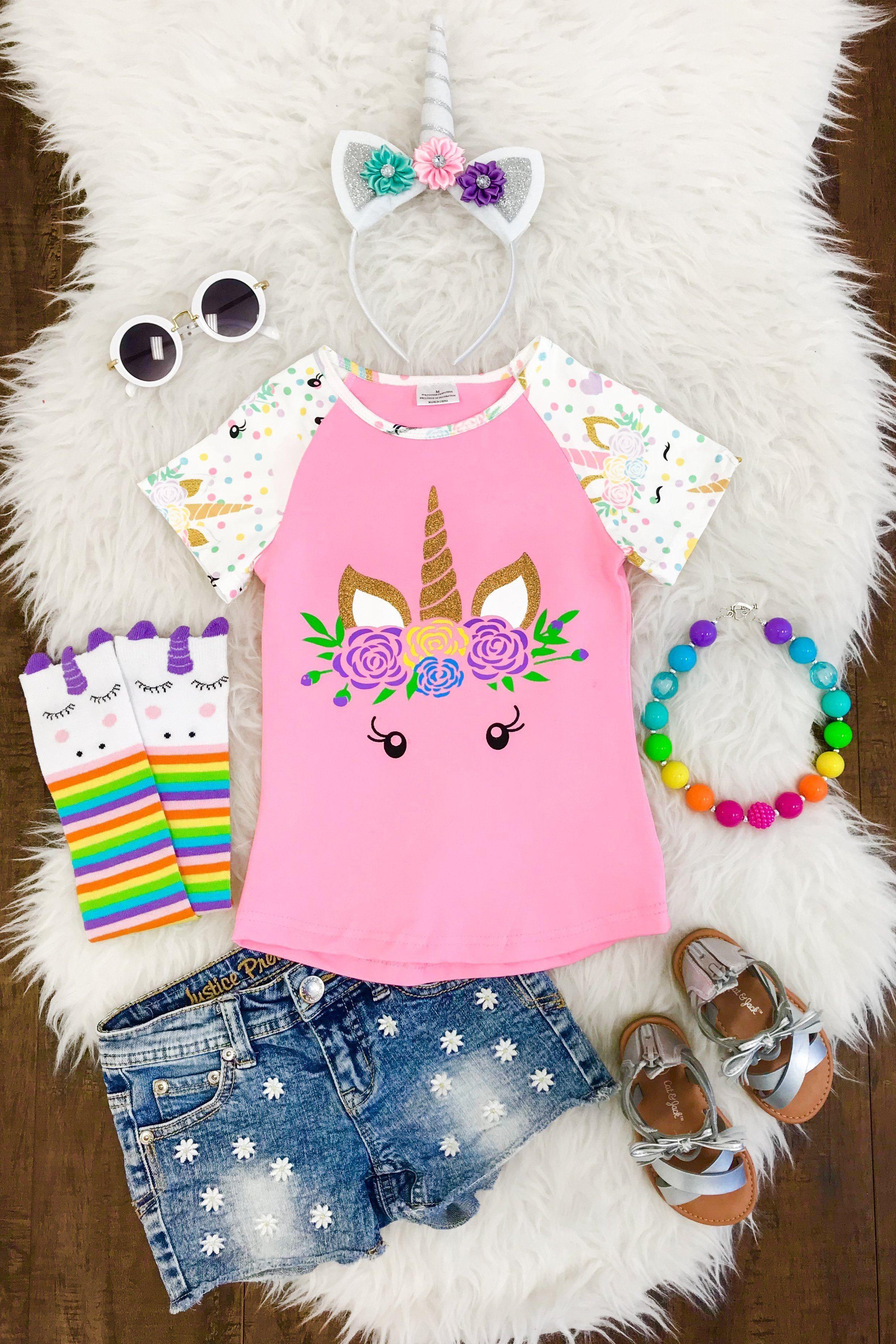 824c2d499b7e6 Pink Unicorn Face T-Shirt | Products | Kids outfits girls, Unicorn ...