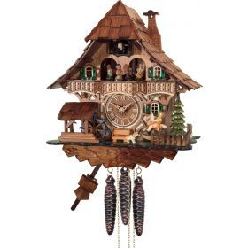 One Day Musical Black Forest Cuckoo Clock with Dancers, Waterwheel, and Girl on Rocking Horse