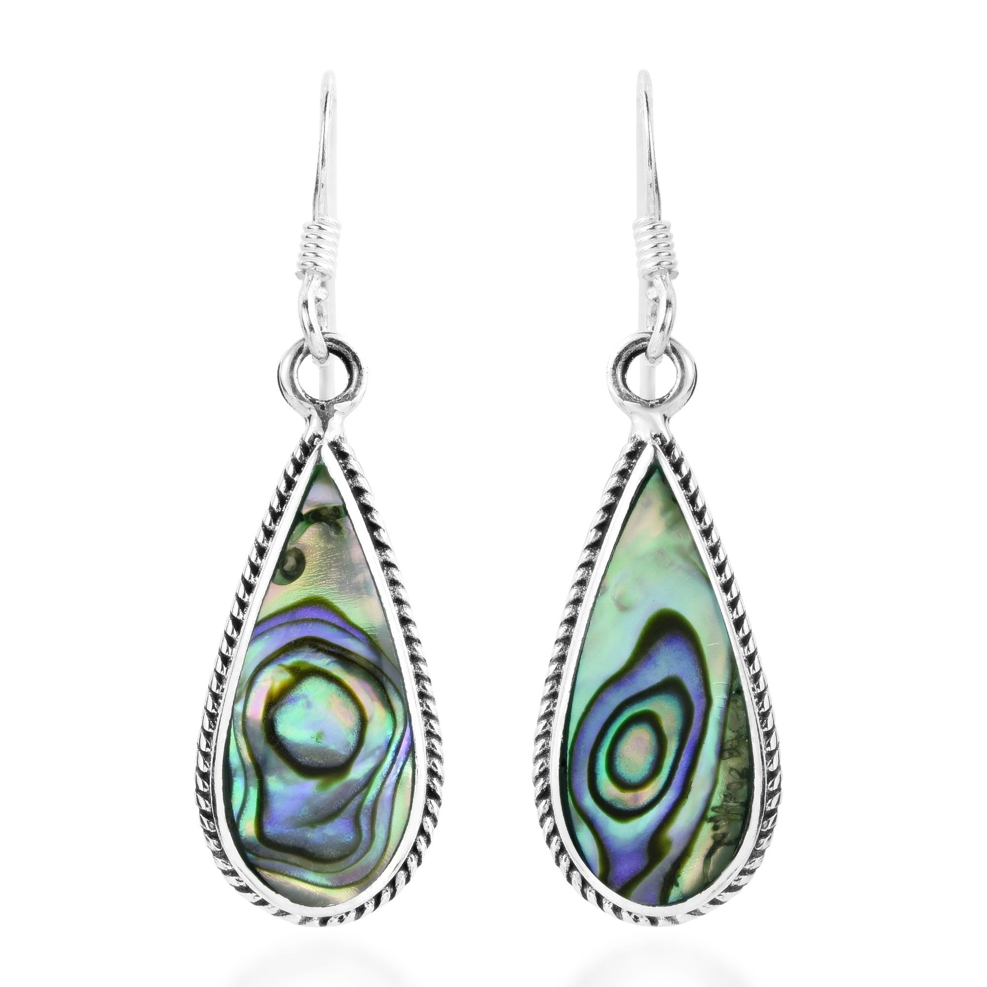 Aeravida Classic Teardrop Shaped Stone Inlaid Sterling Silver Dangle Earrings