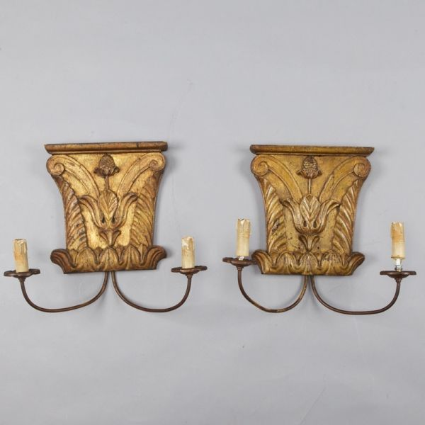 Pair 18th Century Architectural Fragment Sconces --- Carved and gilded Italian architectural fragments from the 18th century are the backplates for this pair of two light sconces. New wiring for US electrical standards. ---  Item:  3018 --- Retail Price:  $1695
