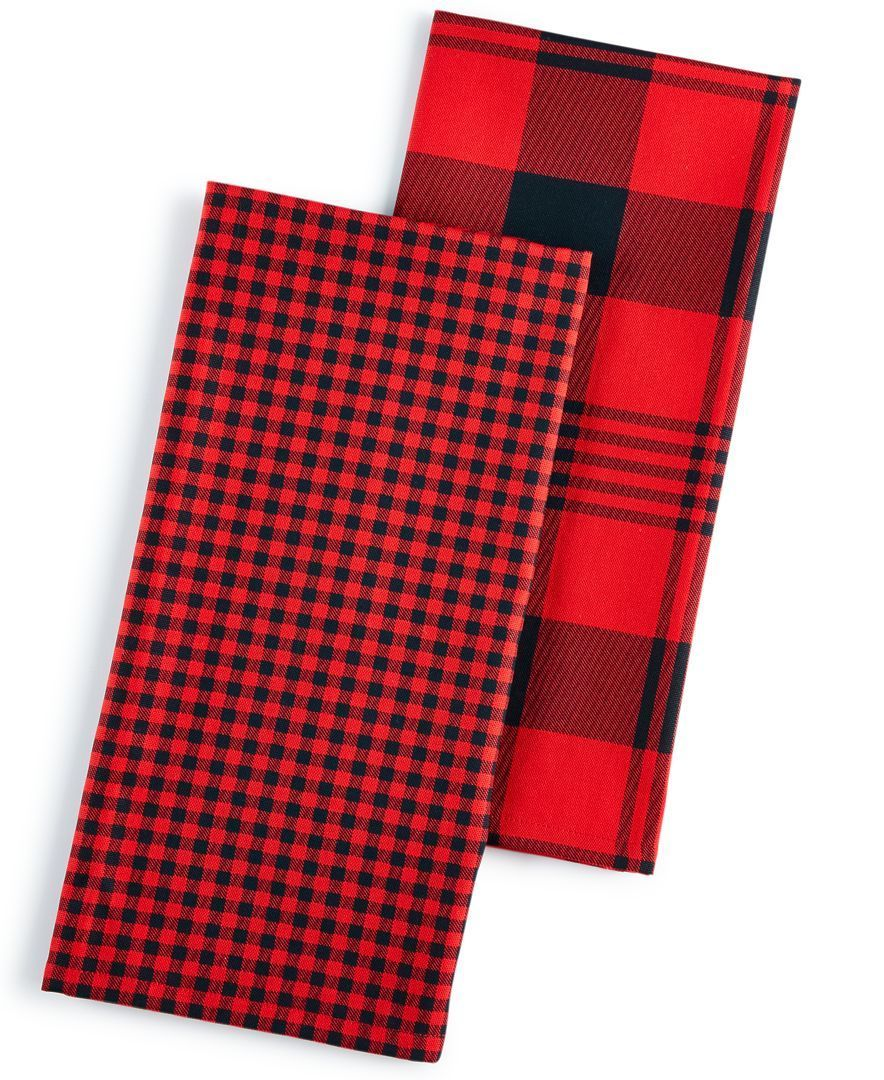 Martha Stewart Collection 2-Pc. Plaid Kitchen Towel Set ...