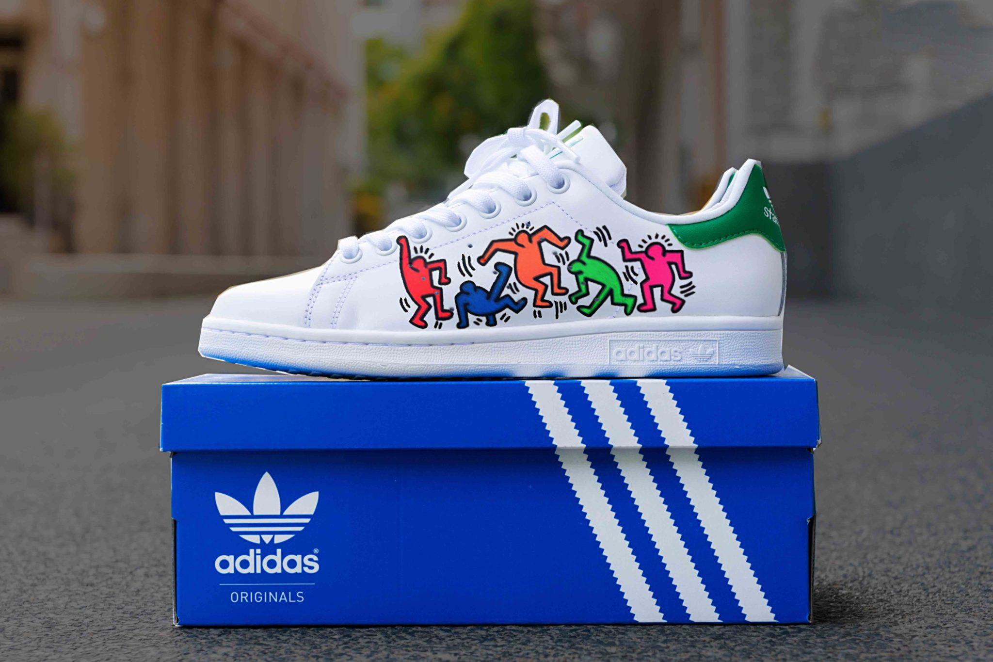 Custom Adidas stan smith,Keith Haring,dancing people,custom ...