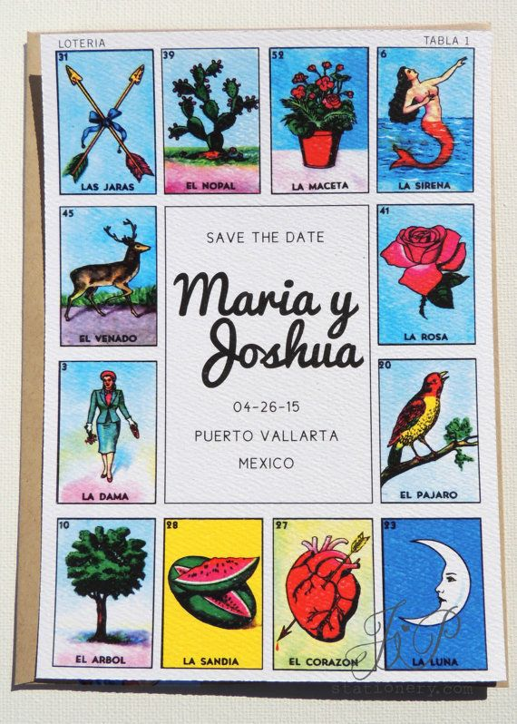 Save The Date Mexican Loteria by JPstationery on Etsy ...